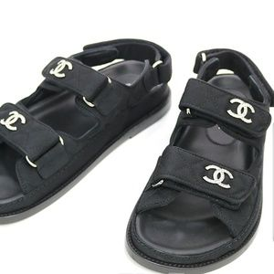 Black Quilted Satin Fabric Crystal Cc Logo Sandals